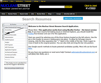 nuclear resume search nuclear support support