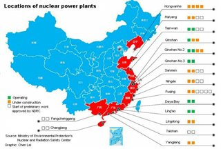 China map of nuclear stations