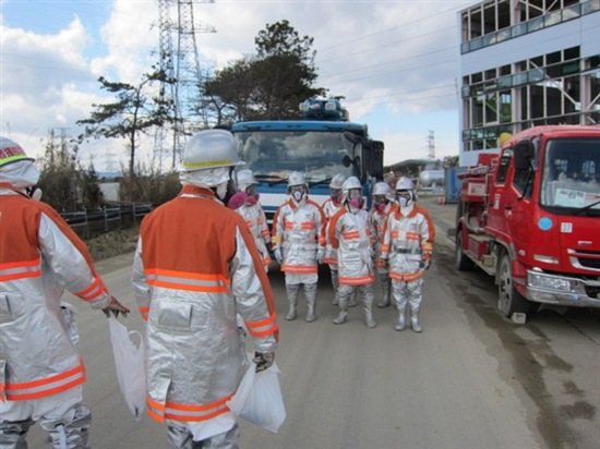 Emergency training at Fukushima Saturday. Source: TEPCO