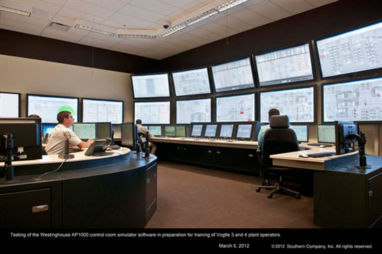 AP1000 reactor control room simulator. Source: Southern Co.