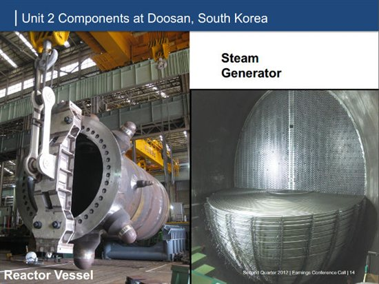 V.C. Summer RPV and Steam Generator. Source: SCANA Q2 earnings presentation.