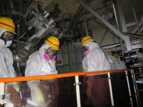 IAEA experts in the Fukushima unit 4 torus room. Source: TEPCO