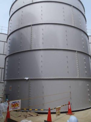 Leaking tank at Fukushima. Source: TEPCO