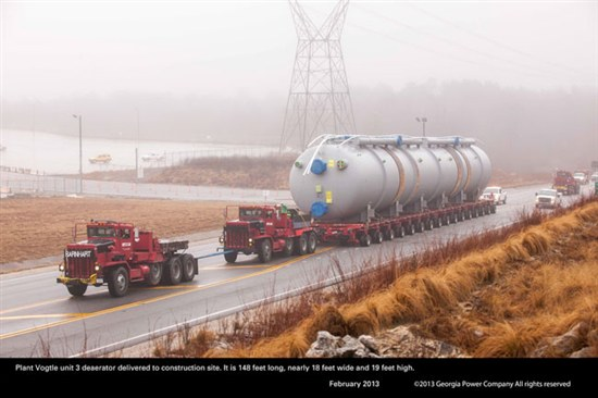 Deaerator en route to Plant Vogtle. Source: Southern Co.