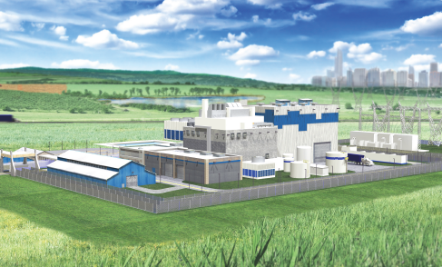Rendering of a Westinghouse SMR plant. Source: Westinghouse