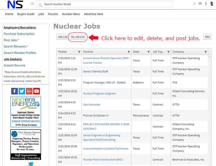 Post a New Job Listing - Nuclear Street Support - Support